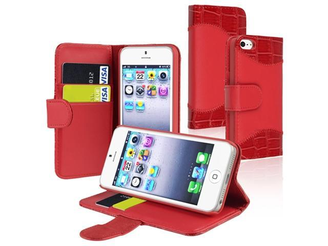 Insten Red Crocodile Skin Card Holder Leather Case Cover + Anti-Glare Screen Cover Compatible With Apple iPhone 5 / 5s 818813