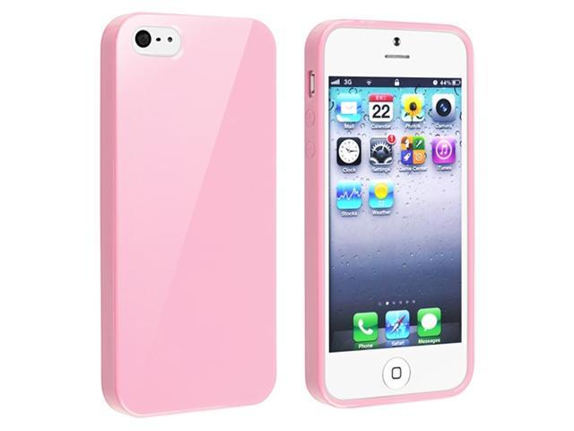 Insten Light Pink Jelly TPU Rubber Skin Cover + Clear Screen Cover Compatible With Apple iPhone 5 / 5s 818867