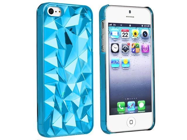 Insten 4-Pack Diamond Cut Clip-on Hard Case Covers: Clear Blue, Clear Smoke, Clear, Clear Yellow Compatible With Apple iPhone 5 / 5s 826709