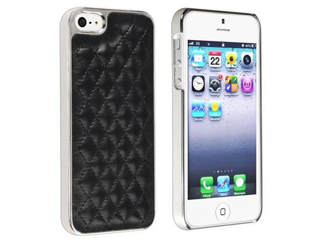 Insten Snap-on Case Cover Compatible with Apple iPhone 5 / 5S, Black Leather with Silver Side