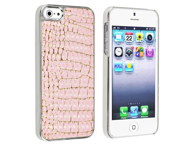 Insten Snap-on Case Cover Compatible with Apple iPhone 5 / 5S, Chrome with Light Pink Crocodile Leather