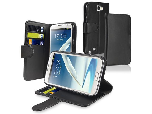 Insten Black Leather Wallet Case Cover with Card Holder + Reusable Screen Protector Compatible with Samsung Galaxy Note II Note 2 N7100