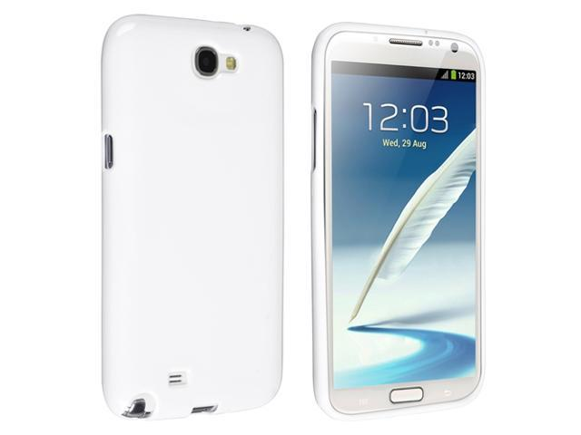 Insten White Jelly TPU Rubber Skin Case Cover + Anti-glare Screen Protector Compatible with Samsung Galaxy Note II Note 2 N7100