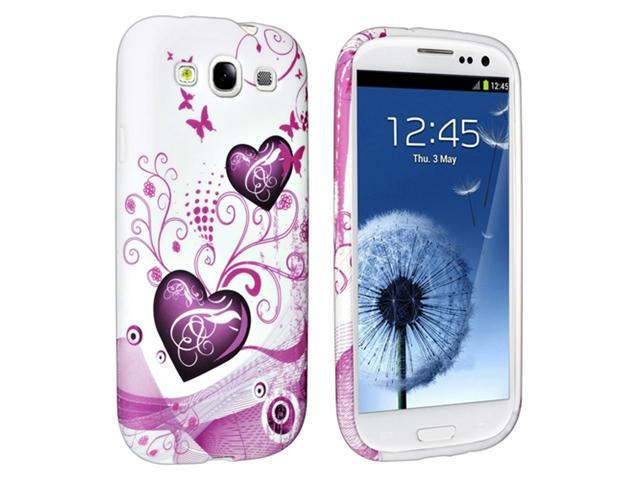 Insten Pink Heart TPU Rubber Case Cover + Reusable Screen Protector Compatible with Samsung Galaxy S III / S3 / i9300