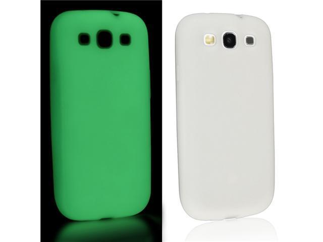 Insten White Silicone Luminous Skin Case Cover + Anti-glare Screen Protector Compatible with Samsung Galaxy S III / S3 / i9300