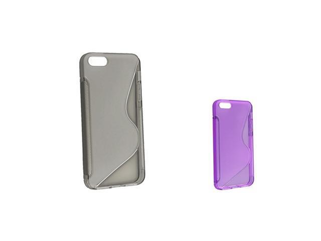 Insten Clear Purple S-Line TPU Rubber Case + Clear Smoke TPU Rubber Case Compatible With Apple iPhone 5