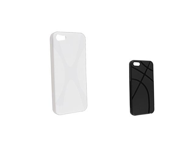 Insten 2 packs of Line Shape TPU Rubber Cases: Black , White Compatible With Apple iPhone 5
