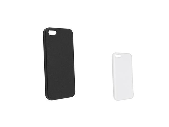 Insten Black Skin Veins TPU Rubber Case + White TPU Rubber Case Compatible With Apple iPhone 5