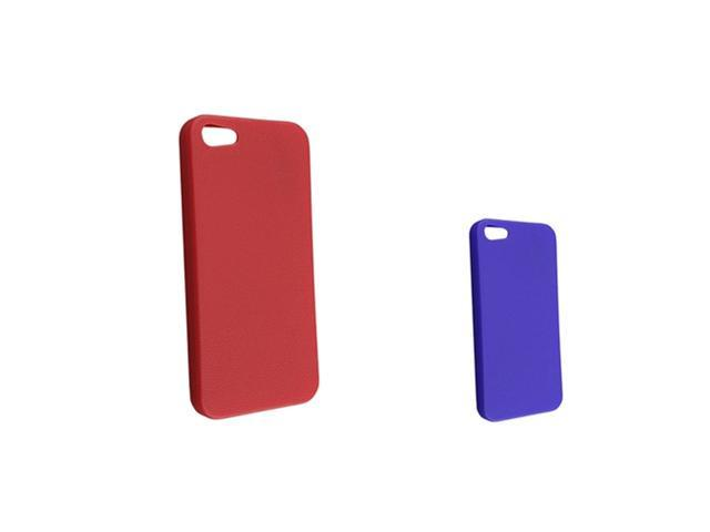 Insten 2 packs of Skin Veins TPU Rubber Cases: Red , Blue Compatible With Apple iPhone 5