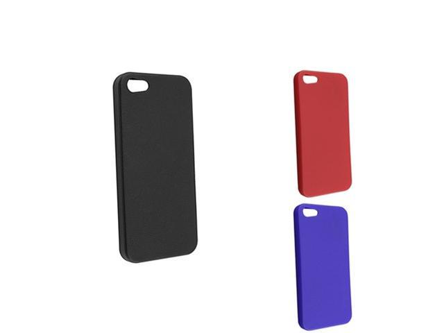 Insten 3 Packs Skin Veins TPU Rubber Case Combo Compatible With Apple iPhone 5, Black / Red / Blue