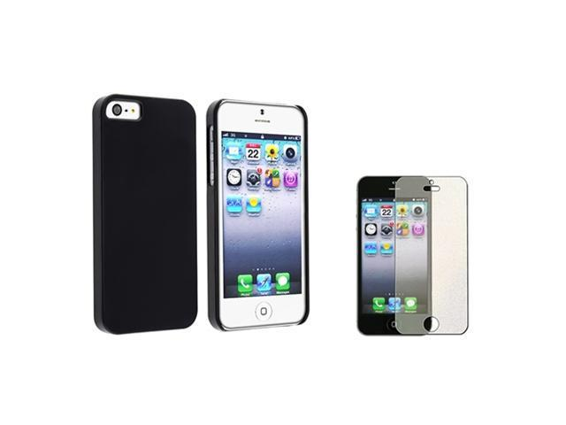 Insten Black Protex Solid Clip-on Case + Colorful Diamond Screen Cover Compatible with Apple iPhone 5