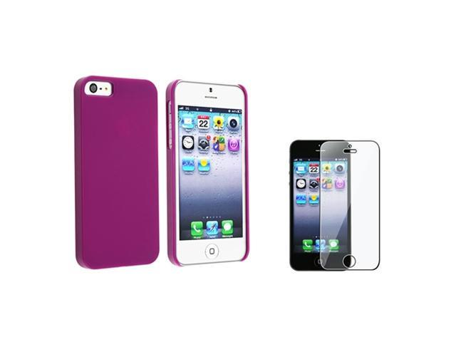Insten Purple Protex Solid Clip-on Case + Screen Protector Compatible With Apple iPhone 5 / 5s 799643
