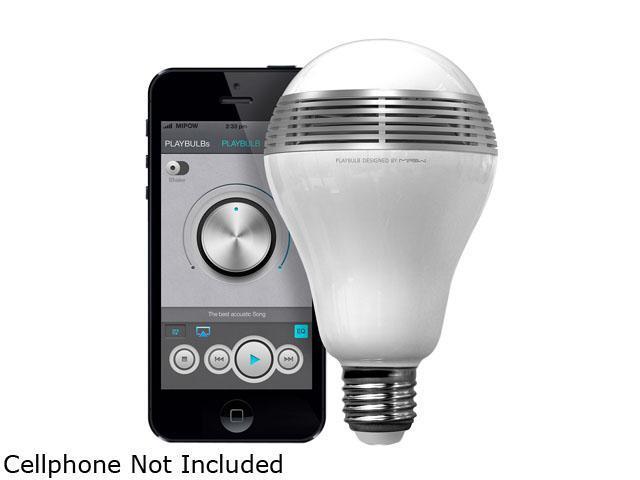 MiPow BTL100-SR-WW White and Silver PLAYBULB Bluetooth Smart LED Speaker Lightbulb