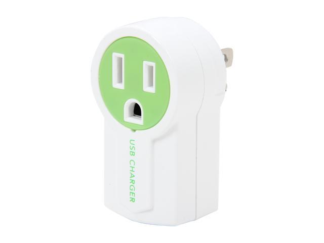 Syba CL-ADA60007 Green/White Rotatable USB Charger, Splits a Standard AC Power Outlet with an Extra USB Charging Port