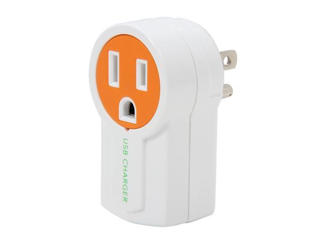 Syba CL-ADA60008 Orange/White Rotatable USB Charger, Splits a Standard AC Power Outlet with an Extra USB Charging Port