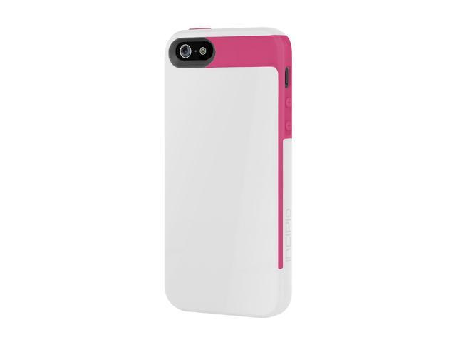 Incipio Faxion Optical White / Cherry Blossom Pink Solid Semi-Rigid Soft Shell Case w/ Polycarbonate Frame for iPhone 5 / 5S IPH-825