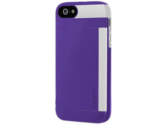 Incipio Stowaway Royal Purple / Optical White Solid Credit Card Hard Shell Case w/ Silicone Core for iPhone 5 / 5S IPH-852