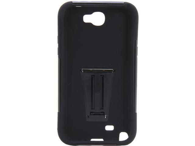 AMZER Black / Black Double Layer Hybrid Case with Kickstand For Samsung Galaxy Note 2 AMZ95407