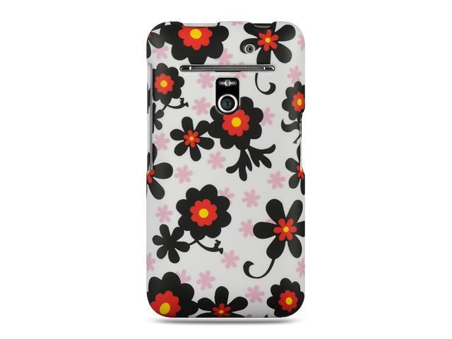 LG Revolution/Esteem VS910 White with Black Daisy Design Crystal Rubberized Case