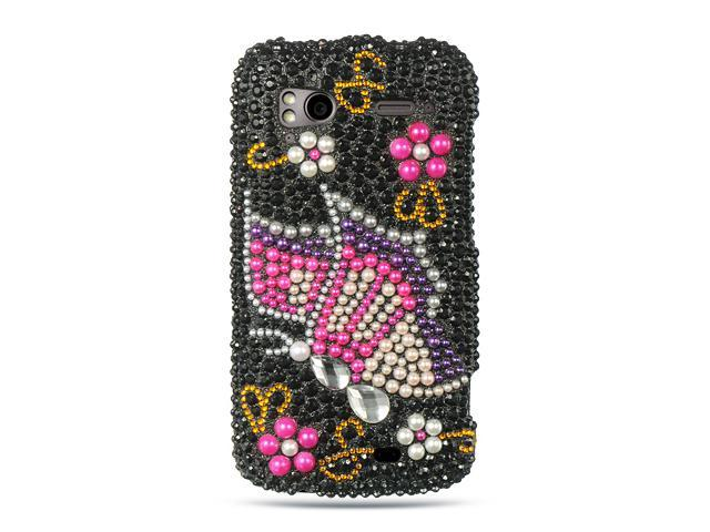 HTC Sensation 4G Black with Rainbow Butterfly Design Full Diamond Case