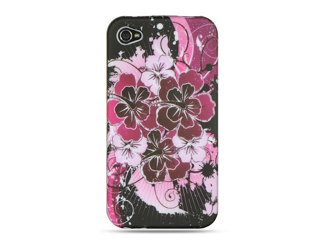 Apple iPhone 4S/iPhone 4 Pink Surfer Flower Design Crystal Rubberized Case