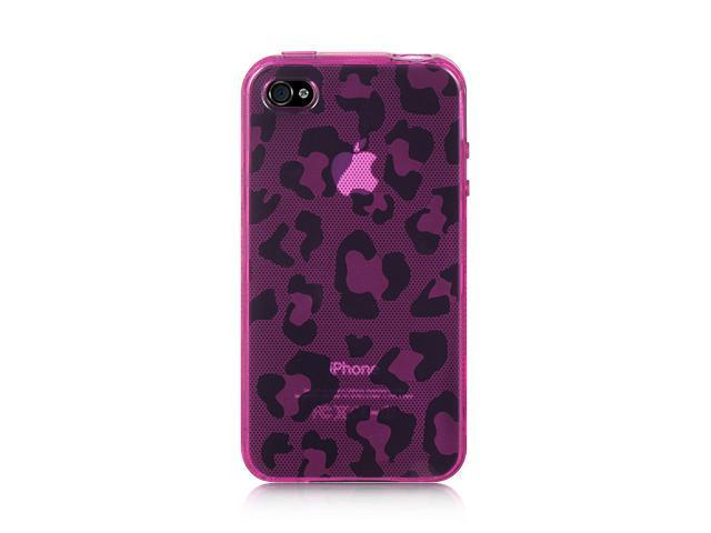 Apple iPhone 4S/iPhone 4 Hot Pink Leopard Design Crystal Skin