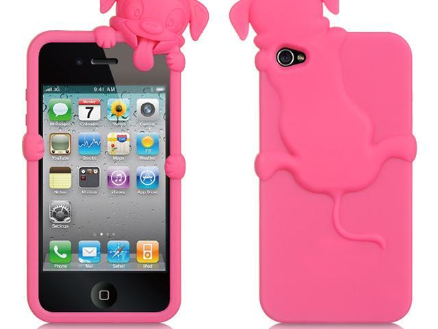Apple iPhone 4S/iPhone 4 Hot Pink Dog Design High-End Skin Case