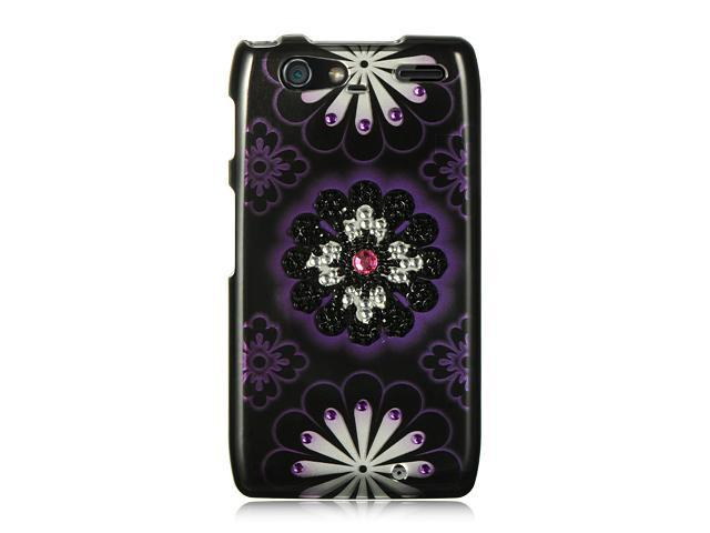 Luxmo Black Black with Purple Hawaii Flower Design Case & Covers Motorola Razr Maxx XT916