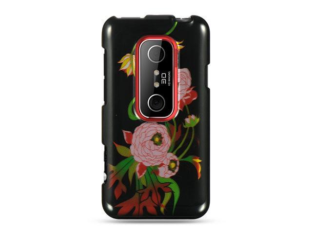 HTC EVO 3D Black Peony Design Crystal Case