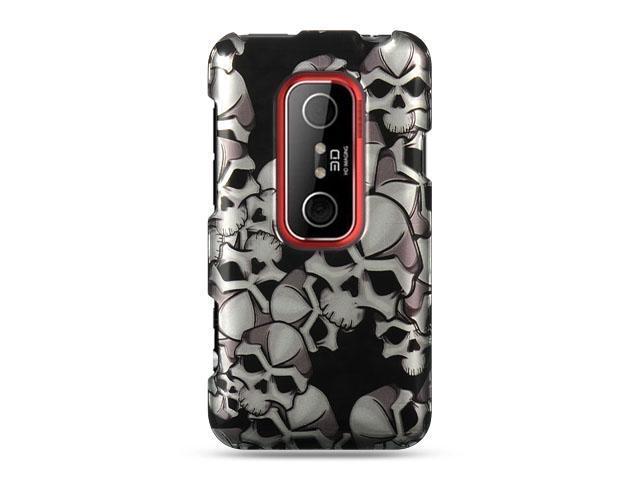 HTC EVO 3D Black Skull Design Crystal Case