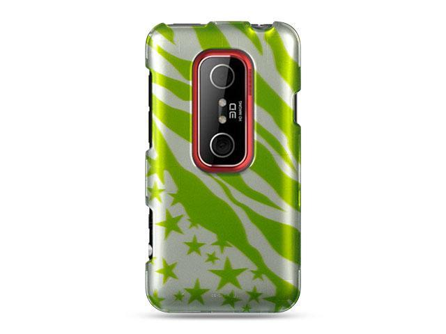 HTC EVO 3D Green with Zebra and Star Design Crystal Case