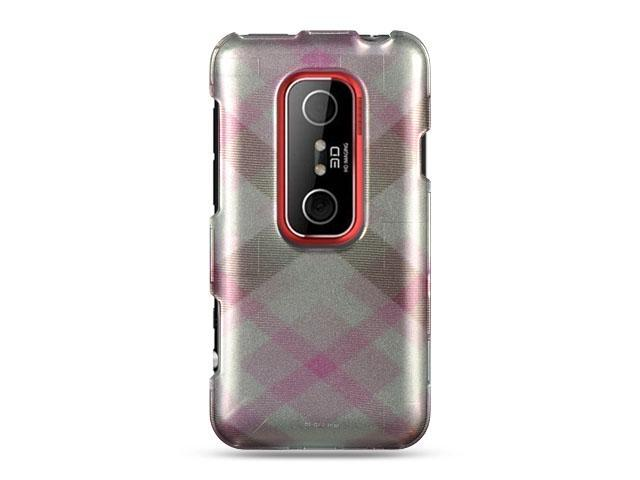 HTC EVO 3D Pink with Pastel Checker Design Crystal Case