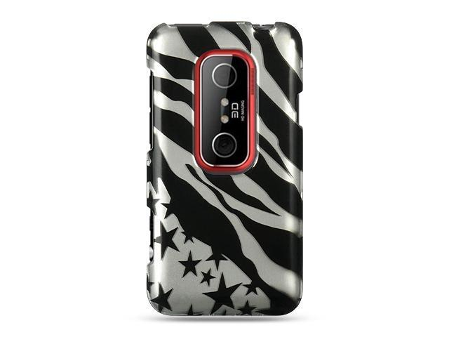 HTC EVO 3D Silver with Zebra and Star Design Crystal Case