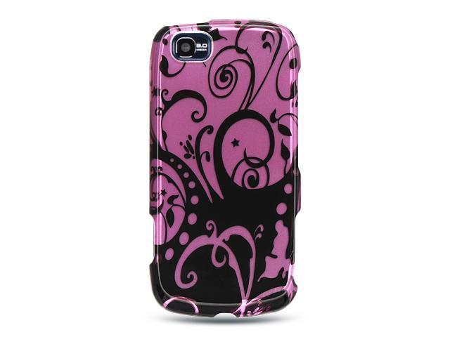 LG Sentio GS505 Purple with Black Swirl Design Crystal Case