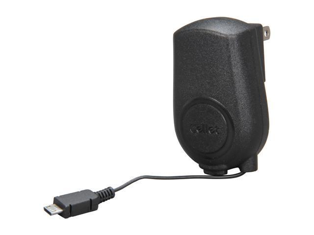 Cellet Black Retractable Travel Charger for Micro USB Phones (TCMOTQ9R)