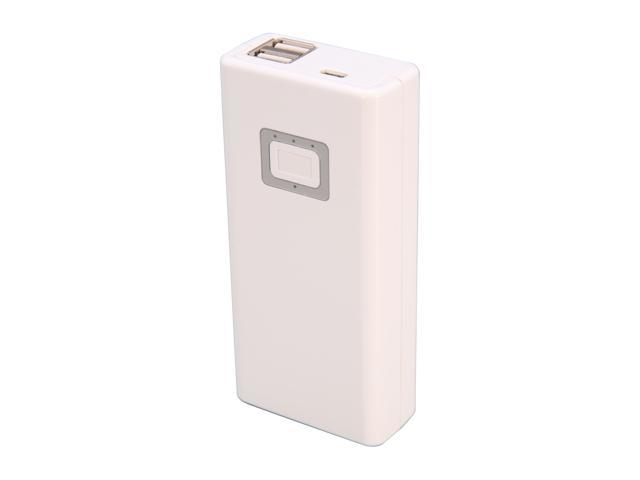 Aluratek White 8000 mAh Dual USB Portable Battery Charger APB02F