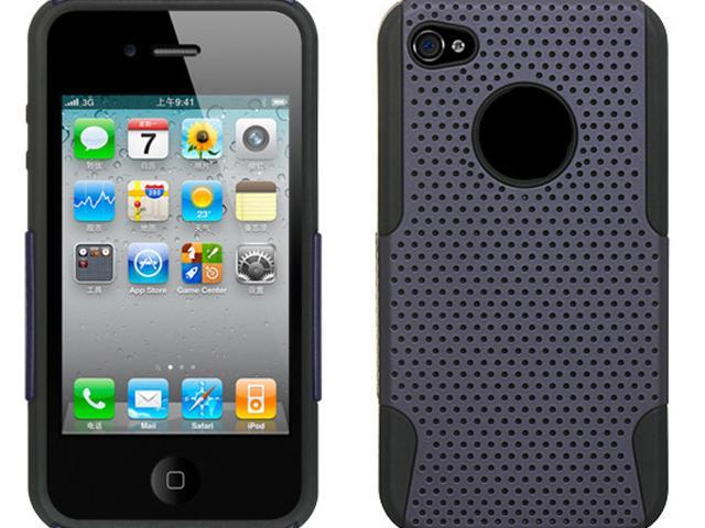Luxmo Black Black Skin with Purple Apex Design Case & Covers Apple iPhone 4S/iPhone 4