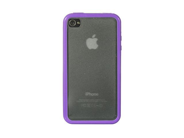 Apple iPhone 4S/iPhone 4 Purple Trim with Clear Back Candy Case