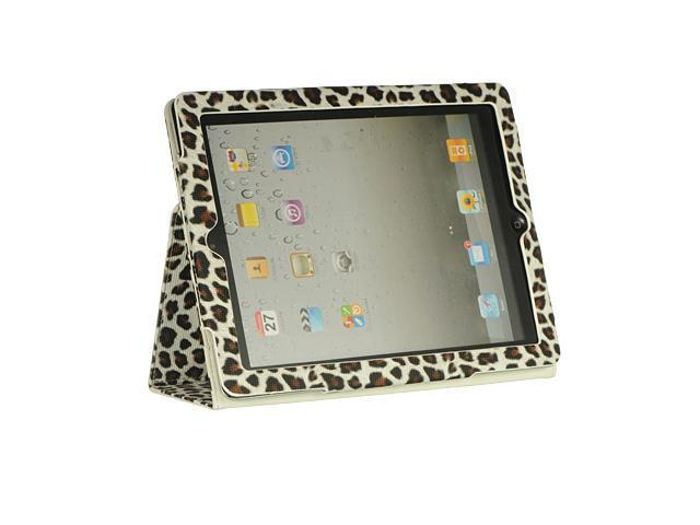 Apple iPad 3/The New iPad/iPad 2 White Leopard Sleep Mode Leather Binder with Stand