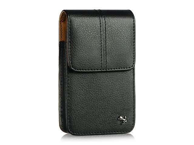 HTC Evo Shift/HTC HD2/Motorola Droid 2/Samsung Epic 4G/Samsung Galaxy S Luxmo #4 Black Vertical Leather Pouch