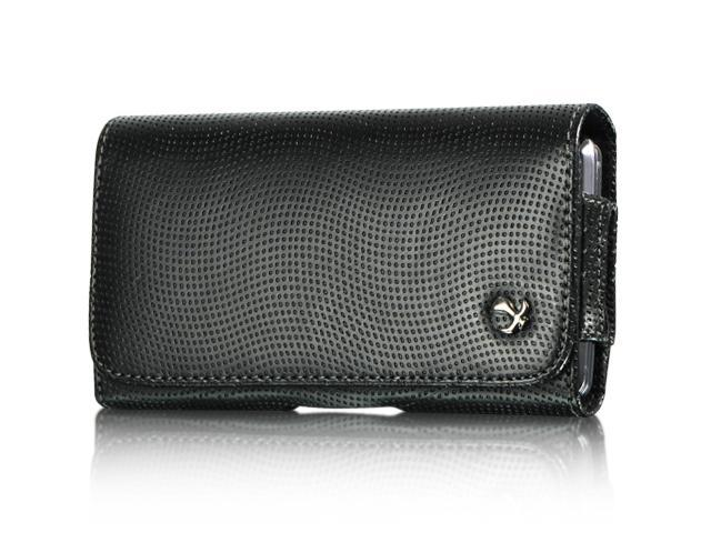 Apple iPhone 4S/Apple iPhone 3GS/Apple iPod Touch 4/BlackBerry Bold/BlackBerry Torch/HTC Droid Incredible Carbon Fiber #1 Black Horizontal Leather Pouch
