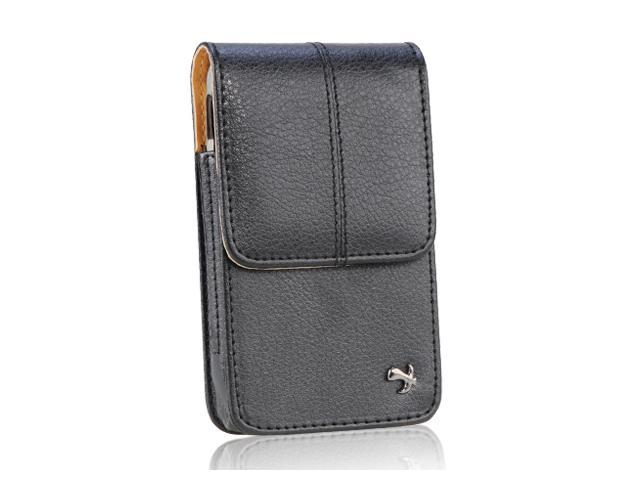 Apple iPhone 4S/Apple iPhone 3GS/Apple iPod Touch 4/BlackBerry Bold/BlackBerry Torch/HTC Droid Incredible Luxmo #4 Black Vertical Leather Pouch