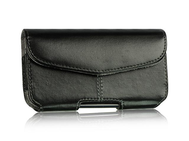 Apple iPhone 4S/Apple iPhone 3GS/Apple iPod Touch 4/BlackBerry Bold/BlackBerry Torch/HTC Droid Incredible Velcro #1 Black Horizontal Leather Pouch