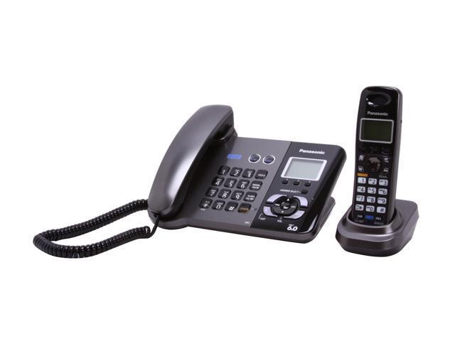 Panasonic KX-TG9391T DECT 6.0 Digital 2-Line Corded/Cordless Phone With Digital Answering System - Black Metallic