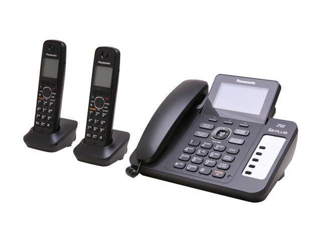 Panasonic KX-TG6672B 1.9 GHz Digital DECT 6.0 2X Handsets Cordless Phones Integrated Answering Machine