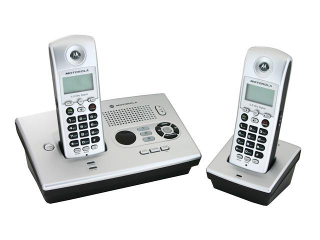 MOTOROLA MOT-MD7161-2 5.8 GHz Digital FHSS 2X Handsets Cordless Phone Integrated Answering Machine