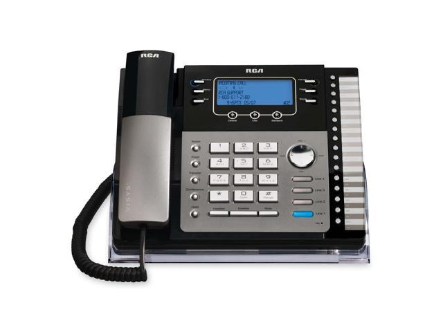 RCA 25424RE1 4-line Operation 4-Line Small Business System Desk Phone with Caller ID Integrated Answering Machine