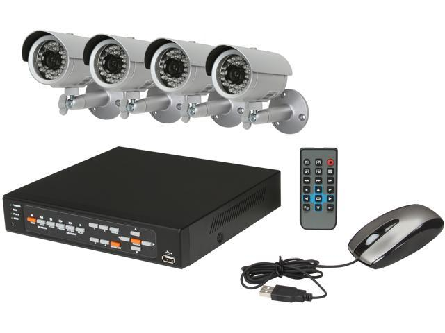 Aposonic A-BR13B4-C500 4 Ch + 4 Sony CCD 480TVL Cameras (Free Upgrade) + 500GB pre-installed HDD with 3G Mobile Access Surveillance Kit