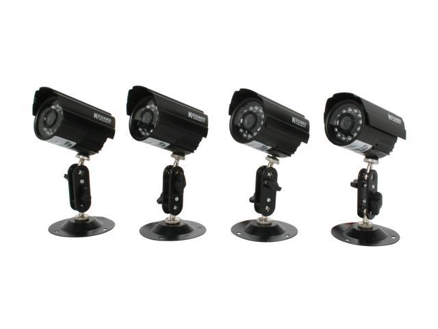 KGuard Camera Kit-H02 420 TV Lines MAX Resolution 1.0Vp-p. 75ohm (BNC) Set of 4 Night Vision & Waterproof CCD Camera Kit