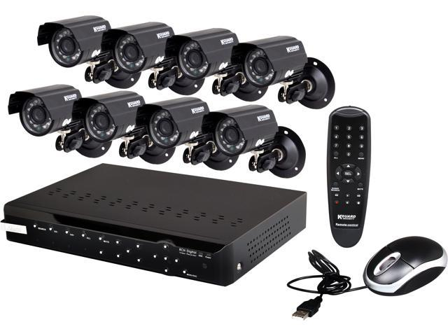 KGuard CA108-H03-500G 8 Ch DVR + 8 CCD, 420 TVL, Bullet Cameras + 500GB HDD, Surveillance Kit Solution
